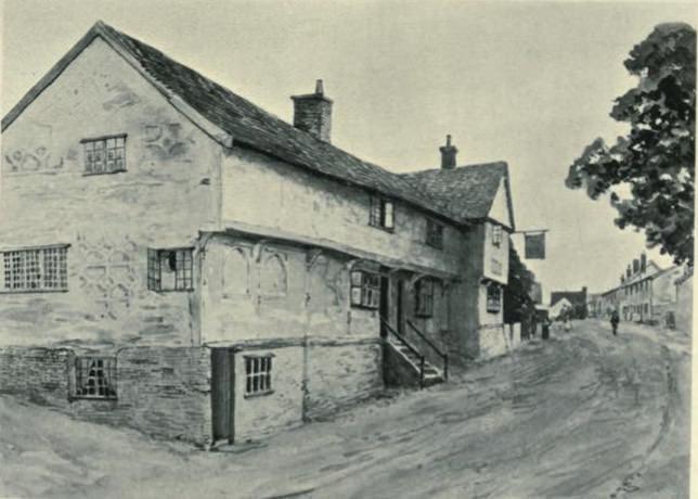 An old house on a street in Coddenham, Suffolk.